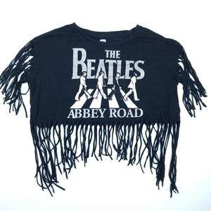 Beatles Abbey Road Biker Style Top Black Silver S